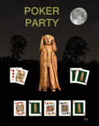 Games Mixed Media Prints - Poker Scream Party Poker Print by Eric Kempson