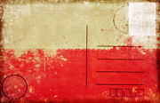 Aging Photo Prints - Poland flag postcard Print by Setsiri Silapasuwanchai