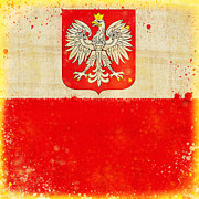 Antique Map Pastels Prints - Poland flag Print by Setsiri Silapasuwanchai