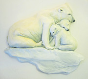 Winter Ceramics - Polar Bear and cubs by Janet Knocke