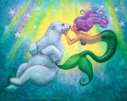 Pop Surrealism Painting Posters - Polar Bear Kiss Poster by Sue Halstenberg