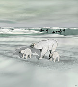 Orca Digital Art - Polar Bear Mother with Cubs by Walter Colvin