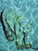 Polar Drawings Prints - Polar Bear Under Water Print by Beth Akerman