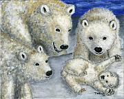 Polar Bears Paintings - Polar Bears at Play in the Arctic by Tanna Lee M Wells