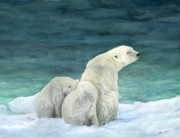 Snow Mixed Media Prints - Polar Bears by The Sea Print by Nonie Wideman
