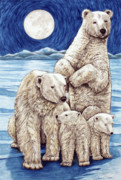 Polar Drawings Prints - Polar Family Print by Lonnie Tapia