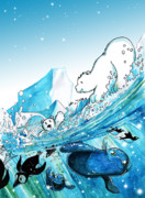Ecology Drawings - Polar Fun by Luis Peres