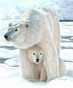 Bear Drawings Framed Prints - Polar Love Framed Print by Carla Kurt