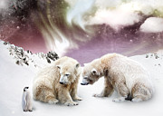 Snow Digital Art - Polar Meet by Julie L Hoddinott
