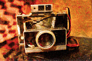 Popart Digital Art Prints - Polaroid Land Camera Model 100 . Painterly . 7D13289 Print by Wingsdomain Art and Photography