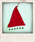 Caps Prints - Polaroid of a Christmas hat Print by Bernard Jaubert