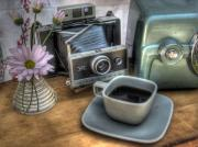 Coffee Cup Posters - Polaroid perceptions Poster by Jane Linders