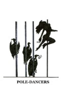 Pole Drawings - Pole-dancers by Merlin Vernon