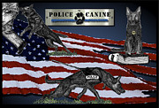 Canine Mixed Media Prints - Police Canine Collage Print by Rose Borisow