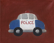 Rescue Painting Posters - Police Car Nursery Art Poster by Katie Carlsruh