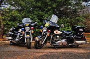 Police Traffic Control Framed Prints - Police Motorcycles Framed Print by Paul Ward