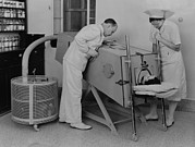 Respiration Framed Prints - Polio Patient In An Iron Lung Framed Print by Everett