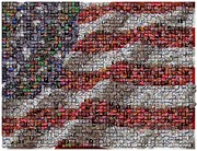 Election Mixed Media Posters - Political Button Flag Mosaic Poster by Paul Van Scott