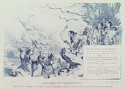 Political Illustration Framed Prints - Political Cartoon Showing Iroquois Framed Print by Everett
