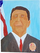 Reagan Painting Framed Prints - Political Pocketpool Reagan Framed Print by Denny Pinkham