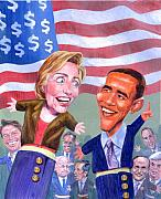 Hillary Clinton Painting Prints - Political Puppets Print by Ken Meyer jr