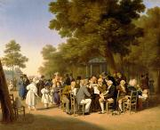 Political Painting Prints - Politicians in the Tuileries Gardens Print by Louis Leopold Boilly