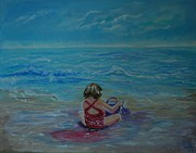 Posters On Paintings - Polka Dot Beach Fun by Leslie Allen