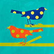 Animals Mixed Media Posters - Polka Dot Birds Poster by Linda Woods