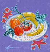Bright Colors Prints - Polka-Dot Plate  Print by Adele Bower