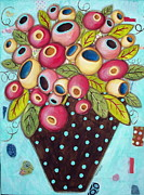 Bouquet Mixed Media Posters - Polka Dot Pot Poster by Karla Gerard