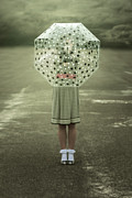 Rainy Street Prints - Polka Dotted Umbrella Print by Joana Kruse