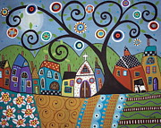 Folk Art Prints - Polkadot Church Print by Karla Gerard