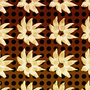 Polkadots Posters - Polkadotted Daisies No.2 Poster by Bonnie Bruno