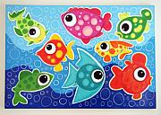 Hanging Pastels Originals - pOLKAdOTTED fISH by Mara Morea