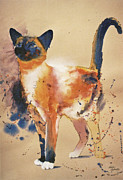 Cat Art Art - Pollocks Cat by Eve Riser Roberts