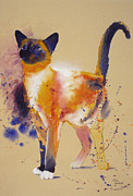 Cats Painting Prints - Pollocks White Cat Print by Eve Riser Roberts