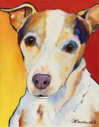 Abstract Dogs Paintings - Polly by Pat Saunders-White
