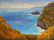 Lookout Painting Prints - Pololu Valley Lookout Print by Pamela Allegretto