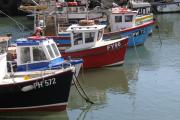 Docked Boats Framed Prints - Polperro Harbor Framed Print by Lauri Novak
