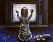 Horror Paintings - Poltergeist by Tom Carlton