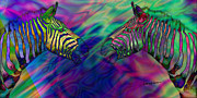 Polychromatic Posters - Polychromatic Zebras Poster by Anthony Caruso