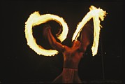 Bora Bora Photos - Polynesian Dancer Twirls Torches by Tim Laman