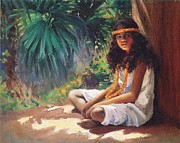 Dranga Framed Prints - Polynesian Girl Framed Print by Pg Reproductions
