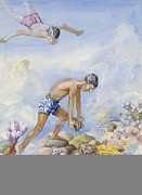 Beach Scenes Photos - Polynesian Swimmers Dive To Pluck Pearl by Else Bostelmann
