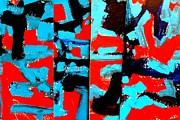 Abstract Expressionism Framed Prints - Polyptych    I Framed Print by John  Nolan