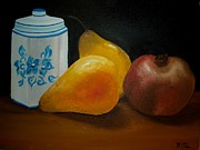 Still Life With Pears Posters - Pomegranate and Pears Poster by Rita Fernandes