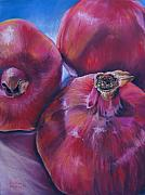 Apple Art Pastels Posters - Pomegranate Power Poster by Outre Art Stephanie Lubin Natalie Eisen