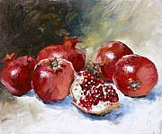 Fruit Painting Posters - Pomegranate Poster by Tanya Jansen