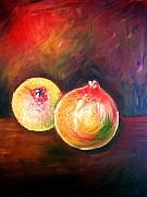 Healthy Mixed Media Posters - Pomegranates From My Garden Poster by Anastasis  Anastasi