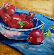 Suzanne Willis Metal Prints - Pomegranates in a Bowl Metal Print by Suzanne Willis
